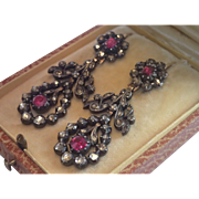 Georgian Pendant Earrings ;  Rose-Cut Diamonds, Rubies ,  Silver & Gold