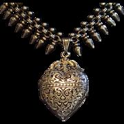 Antique Necklace , Silver Collar & Heart Locket , ...... French Circa 1870