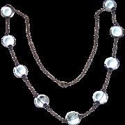 "Art Deco Pools Of Light Necklace ,  Quartz Rock Crystal & Sterling , ...... 25"" Long"
