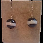 SALE Earrings ; Banded Agate & 14K Yellow Gold, ...... C. 1890 Spheres
