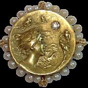 Art Nouveau Pendant / Pin With Watch Hook, 14K , Pearls & Diamond By Krementz