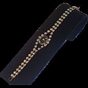 Vintage 1950's  Rhinestone & Metal Bracelet