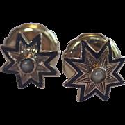 SALE Victorian Star Motif Earrings,  14K With Enamel & Natural Pearls
