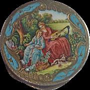 Silver Vermeil  & Enamel Compact , Vintage  Italian Early 20th Century