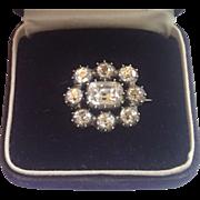 Georgian Black Dot  Rock Quartz Crystal Pin In 9 CT Gold & Silver
