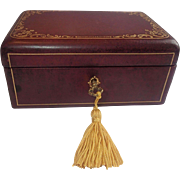 Vintage Leather Jewel Box With Lock & Key
