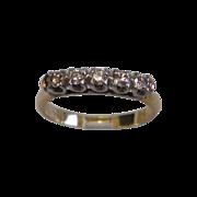 SALE Vintage Wedding Band , 14K & Diamonds
