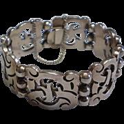 SALE Vintage,  Signed ROSI Mexican Sterling Bracelet With Eagle Mark