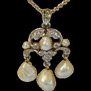 Girandole  Pendant ;  Pearls ,  Diamonds  , Platinum & 14K