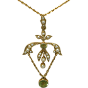 SALE Antique Pendant/Lavaliere , 15 CT , Peridot & Seed Pearls & 14K Chain