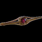 SALE Arts & Crafts Bar Pin , 14K Yellow Gold & Rhodolite Garnet