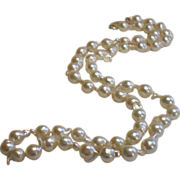 SALE Cultured Baroque Pearls, Matinee Length With 14K Clasp