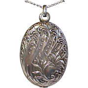 SALE Sterling Slip Locket , French C. 1900 ......  Bold Size , Pristine Condition !