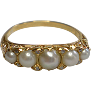 Antique 14K Natural  Pearl & Rose-Cut  Diamond Ring , Circa 1870
