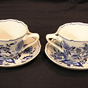 SOLD Blue Danube (Onion) Japan Cup & Saucer Banner Mark, set of 2