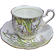 Royal Albert Bone China Cup and Saucer - Snowdrop Flower of Month Series