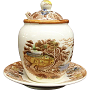 NASCO Transferware Mountain Woodland Jam Jar with Spoon and Attached Underplate