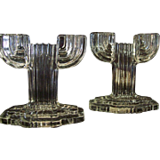 """Vintage Hocking Glass Queen Mary """"Vertical Ribbed"""" Crystal Candlesticks"""