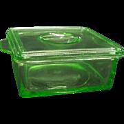 1930's Hazel Atlas Green Depression Glass Refrigerator Dish