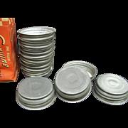 Vintage Samco One Dozen Genuine Mason Zinc Caps with Porcelain Liners