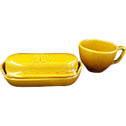 Franciscan Wheat Golden Brown Butter Dish and Cup