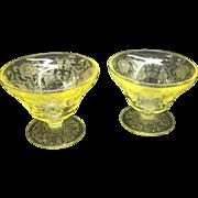Depression Era Hazel Atlas Glass Co. Yellow Florentine No. 2 or Poppy No. 2 Sherbets