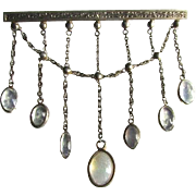 Extraordinary Antique Victorian Moonstone Silver Dangle Drop Brooch Pin Hand Made One of A Kin
