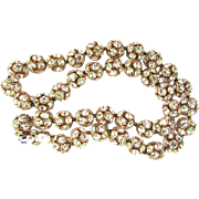 Vintage Large Stunning Rhinestone Ball Bead Gold Tone Statement Necklace