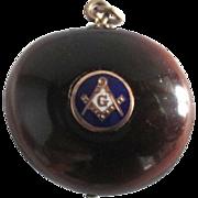 Victorian Masonic Freemasons Inlayed Gold Enamel Sea Bean Fob Pendant