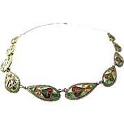 Rare Johan Gustav Kjaerland Norway Plique a Jour Necklace Gilt Sterling Silver Stained Glass .
