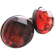 Vintage Sterling Silver Faceted Amber Button Earrings Mid Century Pierced Post