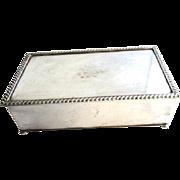 Mid Century Silver Plate Humidor Cigar Cigarette Jewelry Box Friedman & Co Brooklyn New York