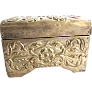 Vintage Silver Tin Stamped Jewelry Box Casket Artisan