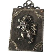 Sterling SIlver Photo Locket Repousse Lion Stamp Holder Case Chatelaine