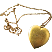Huge Victorian Gold Filled Heart Locket Katherine Inscribed Name Matte Finish