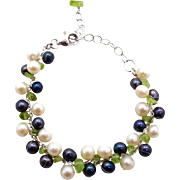 Black White Pearl, Sterling Silver, Green Peridot, Gemstone, Cha-Cha Bracelet, Linked Link ...