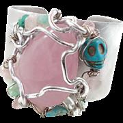 Rose Quartz, Turquoise Cuff, Boho Bracelet, Skull, Wire Wrapped, OOAK, Day of Dead, Pink Brace