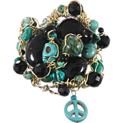 Turquoise & Black Onyx Cuff Bracelet - Skull Peace Sign - Big One of a Kind - Wire Wrapped - I