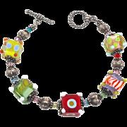Fun Colorful Glass Bead Bracelet - Rainbow Bright - InVintageHeaven