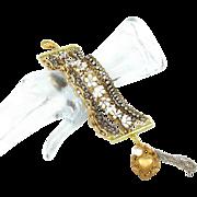 Rhinestone gold and silver Multi chain bracelet - Vintage assemblage, bridal white - InVIntage