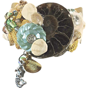 Mermaid Cuff Bracelet - Real Ammonite - Vintage Collage Assemblage - OOAK - InVintageHeaven