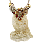 Assemblage Necklace, Bib Necklace, Big Statement, Vintage Jewelry, Cross Rhinestones, Mixed Me