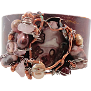 Rhodonite Copper Cuff Bracelet - Pink Gray - Unique Forged & Woven with Pearls More - InVintag