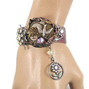 SOLD Steampunk Bird Cuff Bracelet - Vintage Assemblage Collage - InVintageHeaven - Red Tag Sal