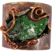 HUGE Calcite cuff bracelet - Forged copper & Brass - Large statement piece - InVintageHeaven