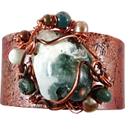 Ocean Jasper Bracelet, Copper Cuff Bracelet, Boho Jewelry, Forged Copper, Green Cream, Wire Wr