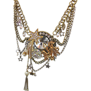 Star Moon Fairy Golden Rhinestone Vintage Assemblage Necklace - Big statement - InVintageHeave