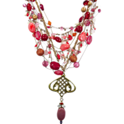 Pink & Raspberry Boho Necklace - Vintage Convertible Assemblage - One of a Kind - InVintageHea