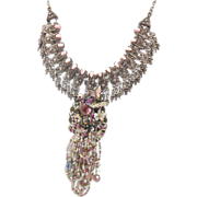 Pink Bird Rhinestone Bib Necklace - OOAK Large Piece - Big Statement - InVintageHeaven