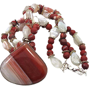 Agate Beaded Sterling Silver Necklace Pendant - Big Red Banded Stone - Bohemian Style - InVint